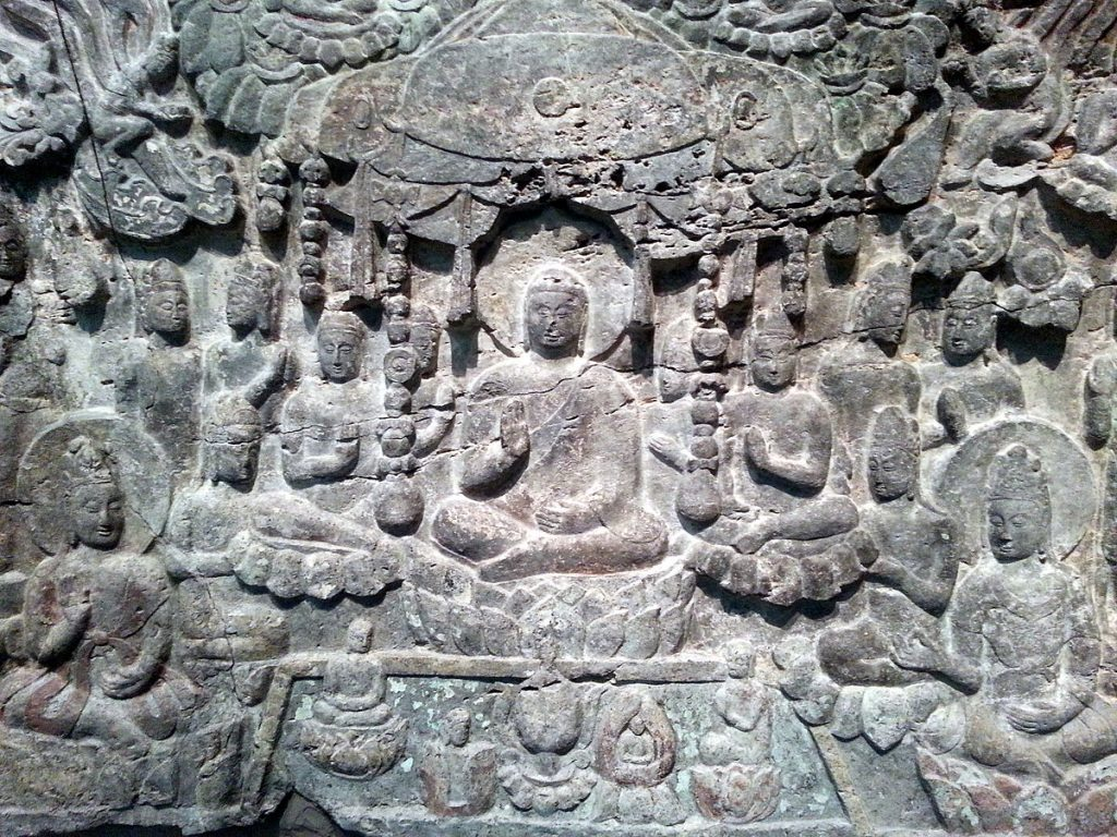 Detail image of the Western Paradise of Buddha Amitabha relief carving.