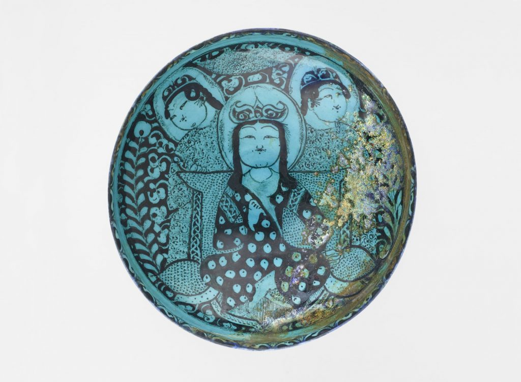 Display image of the Persian Bowl in the National Museum of Asian Art.